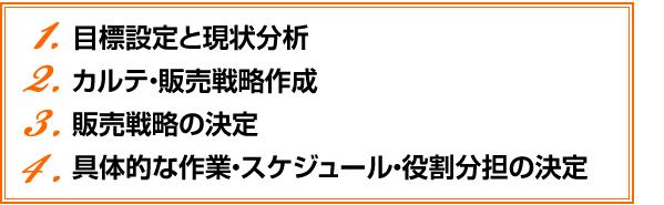 1.目標設定と現状分析 2.カルテ・販売戦略作成 3.販売戦略の決定 4.具体的な作業・スケジュール・役割分担の決定