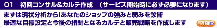 01 初回コンサル&カルテ作成(サービス開始時に必ず必要になります)